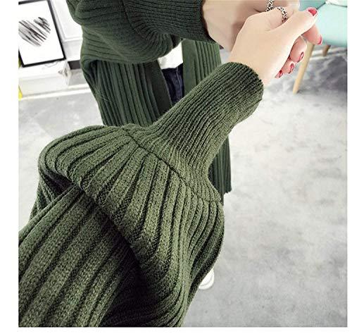 Monocromo Libero Outerwear Coat Lunga A Vintage Casuale Relaxed Maglia Autunno Grün Cappotto Donne Lunghe Forcella Eleganti Primaverile Pullover Aperto Maniche Fashion Tempo Giacca Battercake Donna 0p1qwBxg