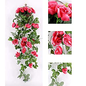 "Tuscom 20PCs Artificial Rose Flower Rattan Green Leaf,Non-Toxic Vine Garland,95cm/37.4""for Home Office Garden Flower Wedding Decor 14"