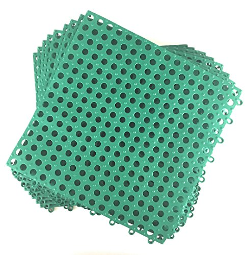 Set of 9 Interlocking Green Rubber Floor Tiles- 11.75 inches Each Side - Wet Areas Like Pool Shower Locker-Room Bathroom Deck Patio Garage Boat. Can be Cut to fit- Mako Line - Foghorn Construction (Floor Like Tiles)