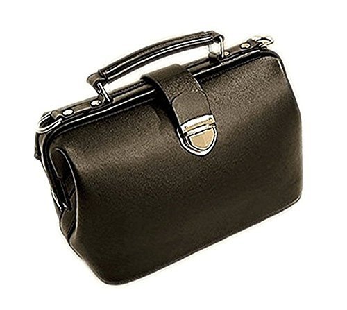 Womens Vintage Handbag Old Totes Bag Shoulder Doctor Crossbody Bag (Black)