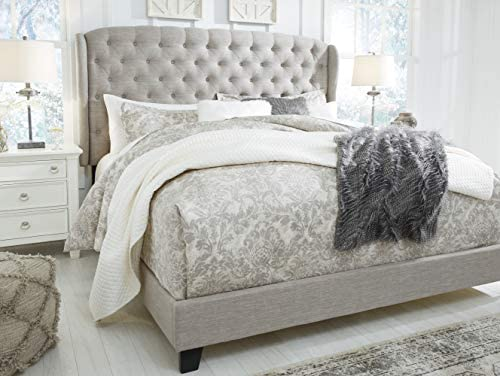 Signature Design By Ashley Jerary King Upholstered Tufted Wingback Bed Frame, Gray 51ZTTh4EFKL