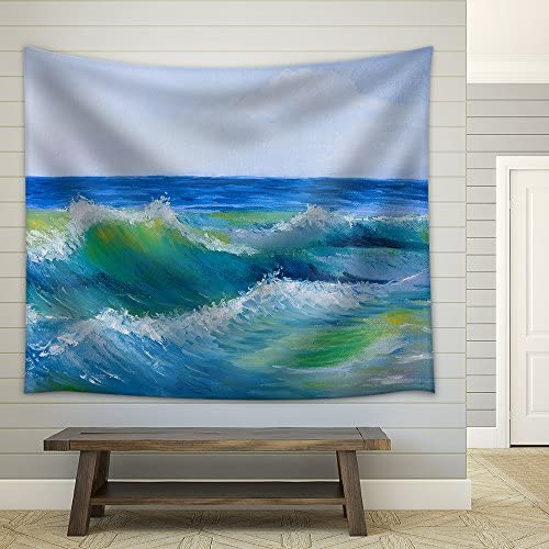 Oil Painting of The Beautiful Sea Wave and Sky Fabric Wall