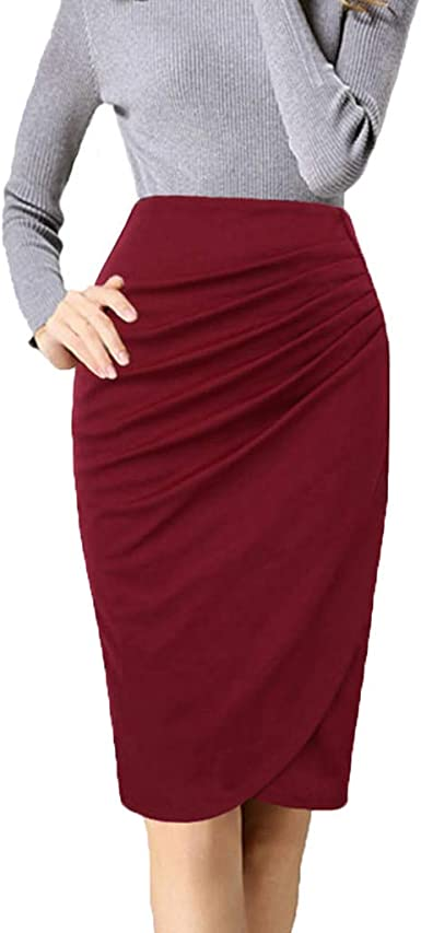 YueLove Falda para Mujer, Elegante, monocromática, Cintura Alta ...