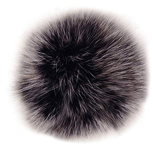 (Dikoaina Faux Fox Fur Pom Pom Keychain Bag Purse Charm Gold Ring Fluffy Fur Ball, Silver, One Size )