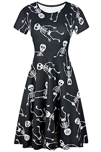For G and PL Halloween Women Short Sleeve A-Line Skull Party Swing Casual Tunic Dress Skeletons S -