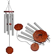 """INNOCHEER Wind Chimes 32"""" with S Hook, Aluminum and Wood for Outdoor Patio, Garden and Home Décor (Silver)"""