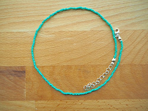 Teal choker necklace - Dainty choker - Turquoise choker - Beaded choker - Delicate choker - Seed bead choker