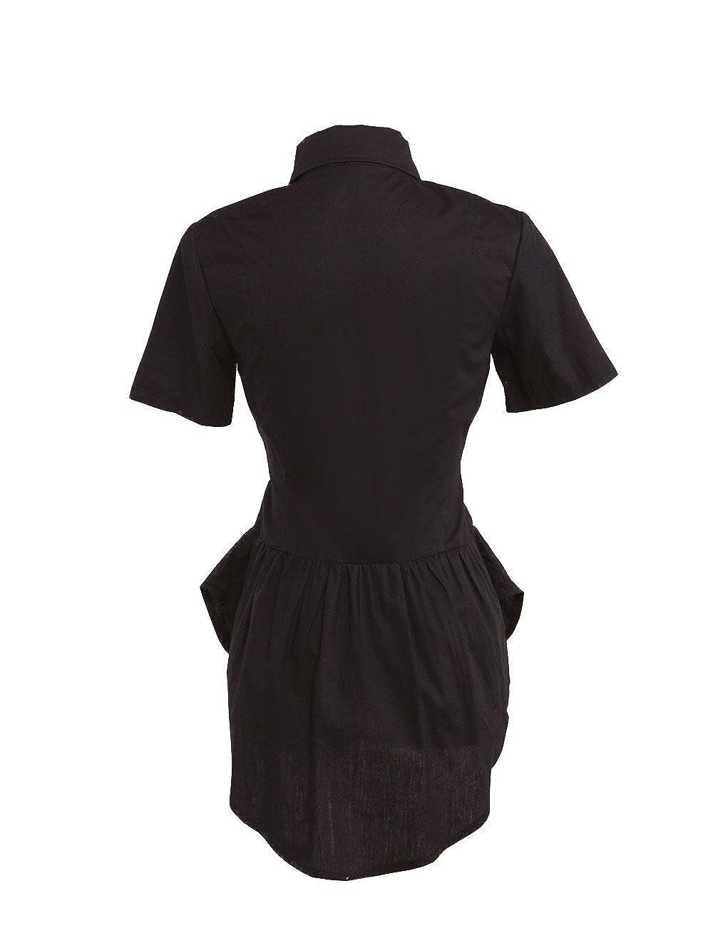 78a66941294660 Amazon.com: Antaina Black Cotton Ruffle Lace Retro Gothic Punk Lolita Shirt  Blouse: Clothing