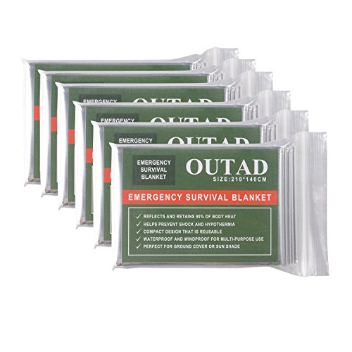 OUTAD Waterproof Emergency Blanket for Outdoor Survival Thermal First Aid (10 pcs)