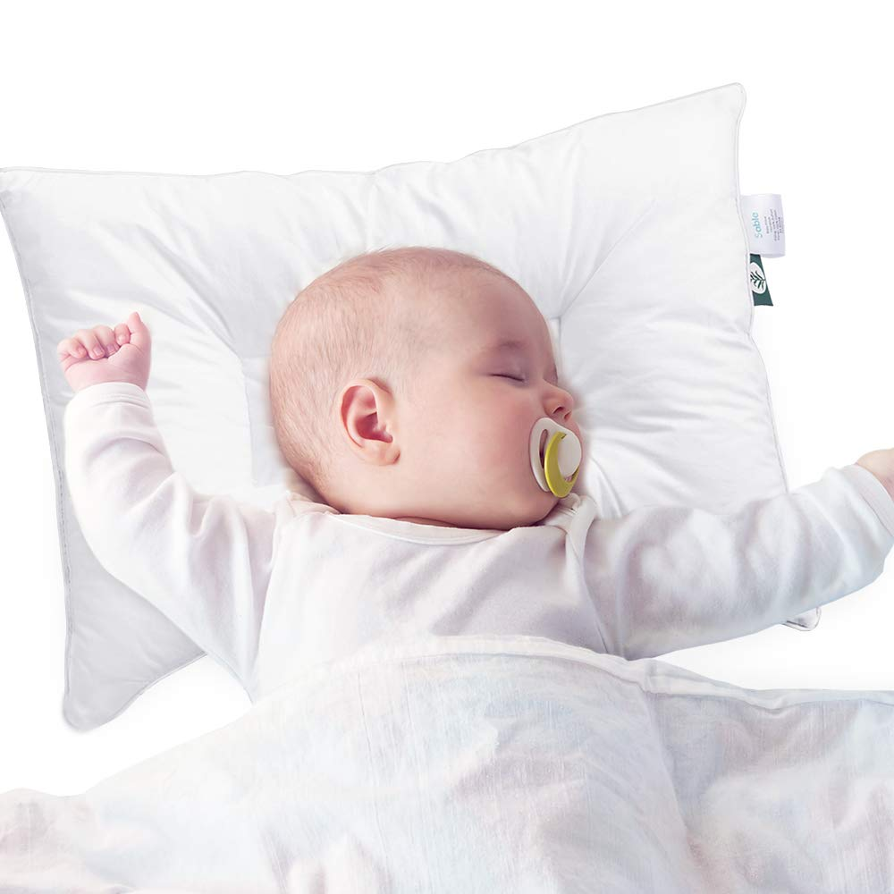 Baby Toddler Pillow for Sleeping with Dupont Sorona Fiber, Oeko-Tex 100 Certified Hypoallergenic for Newborns & Infants Prevents Flat Head Syndrome, 100% Cotton Pillowcase (White, 14