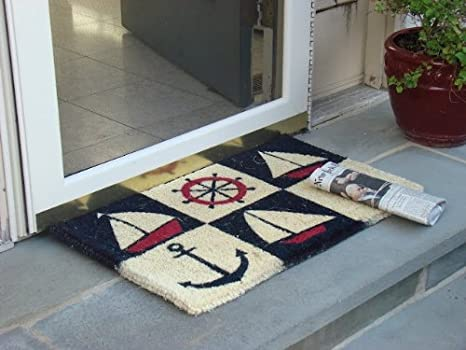 Kempf Nautical Design Rubber Backed Coco Doormat, 18 By 30 By 0.5 Inch