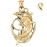 Gold-Plated 925 Sterling Silver 45mm Anchor With Marlin Charm w/ Lobster Clasp