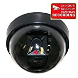 VideoSecu Dummy Fake Imitation Security Camera with Flashing Light LED Cost-effective Security CCTV Simulated Dome Camera 3PZ image