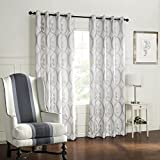 Leyden Grommet Top Minimalist Jacquard Geometric Curtain Drapes Multi Size Available Custom (One Panel) 150Wx102