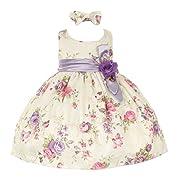 Baby Girls Lilac Floral Printed Jacquard Sash Hair Bow Dress 6M
