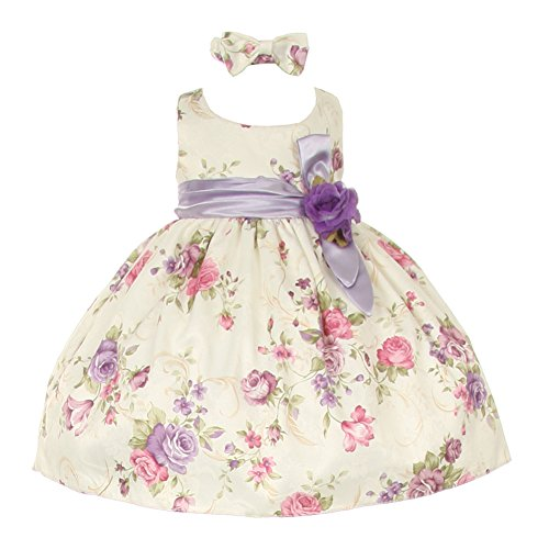Baby Girls Lilac Floral Printed Jacquard Sash Hair Bow Dress -