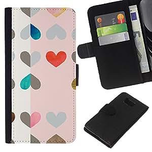 KLONGSHOP // Tirón de la caja Cartera de cuero con ranuras para tarjetas - Modelo de los corazones Arte Rosa Rojo Dibujo - Samsung ALPHA G850 //
