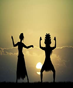 Docady Poster Wall Art Universal Artwork Mural Home Print Decor Easy to Install Bedroom Living Room Thai Couple Dancer at Sunset Maori Coast Traditional Dance Hawaiian 18x24 Inches