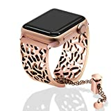 TRUMiRR For Apple Watch Band 38mm Women Ladies, Jewelry Watchband Metal Stainless Steel Wrist Strap Cuff Bracelet for iWatch Apple Watch Series 3 2 1 All Models(38MM,Rose Gold)