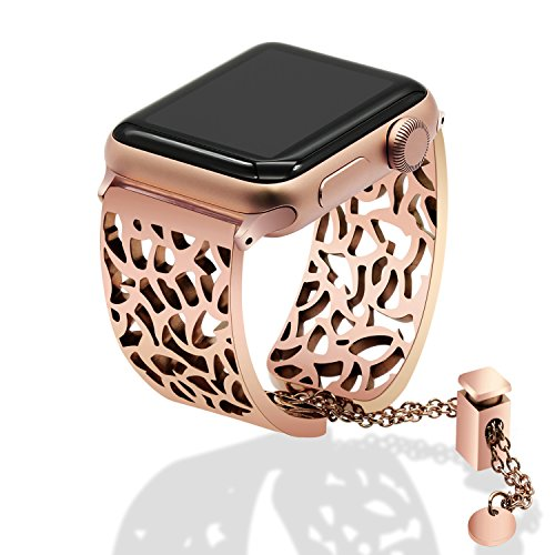 TRUMiRR Bands Compatible Apple Watch Band 42mm 44mm Women Ladies, Jewelry Watchband Metal Stainless Steel Wrist Strap Cuff Bracelet for iWatch Apple Watch Series 4 3 2 1 All Models