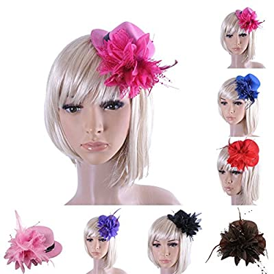 BAOBAO Women Flower Mini Top Hat Fascinator Wedding Party Bridal Hair Clip Hairpin