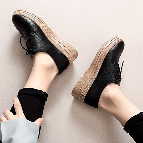 Womens Cm Toe Oxford Sneakers Casual 5 Yxx Scarpe Lace Alto up Top 4 4 Donna Low Da Platform Women's Donna Shoes Wedge qtwxBR