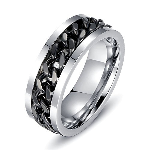 Topick Mens Fashion Black Stainless Steel Wide 8mm Spinner Chain Shaped Ring