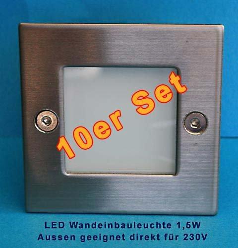 Kanlux Lot de 10 spots LED encastrés pour escalier avec boitiers de montage Protection IP54 230 V 1,5 W