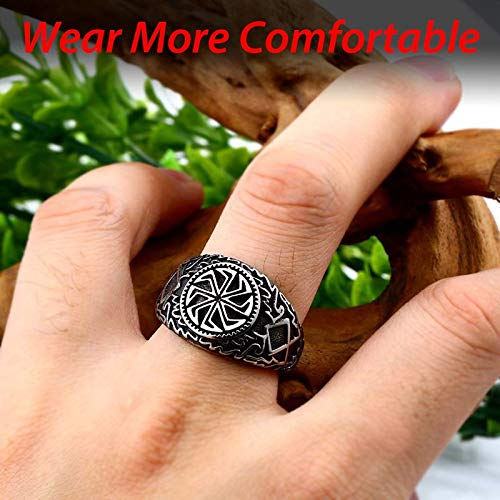 Solider Viking Celtic Solar Symbol Wheel Ring | Amulet Stainless Nordic Slavic Pagan Jewelry