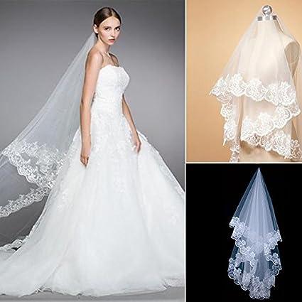 Accesorios de novia de gasa para vestidos de novia metros de velo de encaje borde largo
