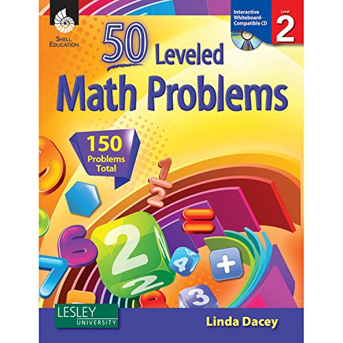 Marvel Education SEP50774 Shell Education 50 Leveled Math Problems Book with CD, Level 2 (Pack of 2) (Best 2nd Career At 50)