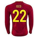 Red #22 Isco Home Match Long Sleeve Soccer Adult Jersey EURO 2016