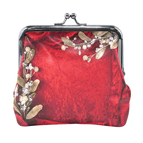 Women Wallet Purse Wedding Invitation Card Red Flower Clutch Bag Leather