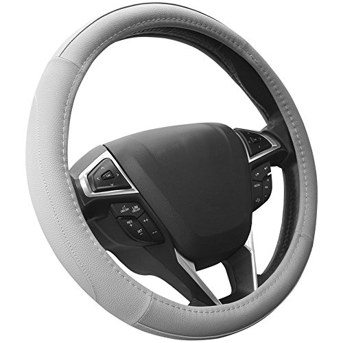 SEG Direct Gray Microfiber Leather Auto Car Steering Wheel Cover Universal 15 inch