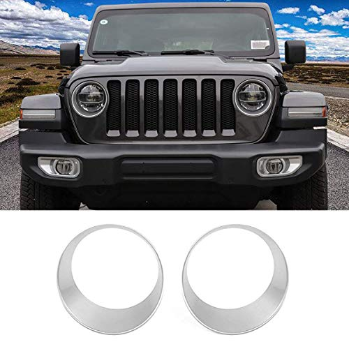 TTCR-II for Jeep Wrangle JL Headlight Cover, Silver Front Turn Light Bezel Insert Trim Cover(Fit Jeep Wrangle JL 2018-2019 Sprot/Sport S)