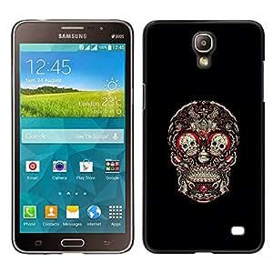 Stuss Case / Funda Carcasa protectora - Cráneo Rojo Sangre Rose Floral Negro - Samsung Galaxy Mega 2