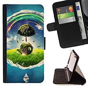 BullDog Case - FOR/Samsung Galaxy Note 4 IV / - / Wonderland Universe Tree Colors /- Monedero de cuero de la PU Llevar cubierta de la caja con el ID Credit Card Slots Flip funda de cuer