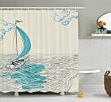 Nautical Decor Shower Curtain by Ambesonne, Sailing Boat Reflection Cloudy Sky Sandy Seaside Shoreline and Hobby Watersports Image, Fabric Bathroom Decor Set with Hooks, 75 Inches Long, Aqua and Navy