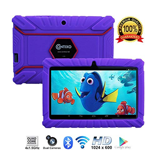 Contixo Kids Tablet K2 | 7 Display Android 6.0 Bluetooth WiFi Camera Parental Control for Children Infant Toddlers Includes Tablet Case (Purple)