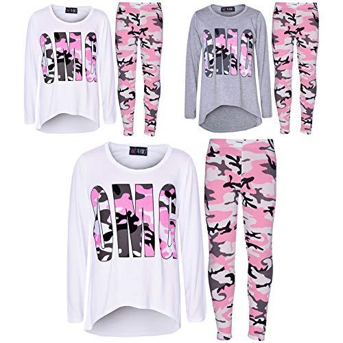 Girls Top Kids Designers OMG Camouflage Print Shirt Tops & Legging Set 7-13 Yr