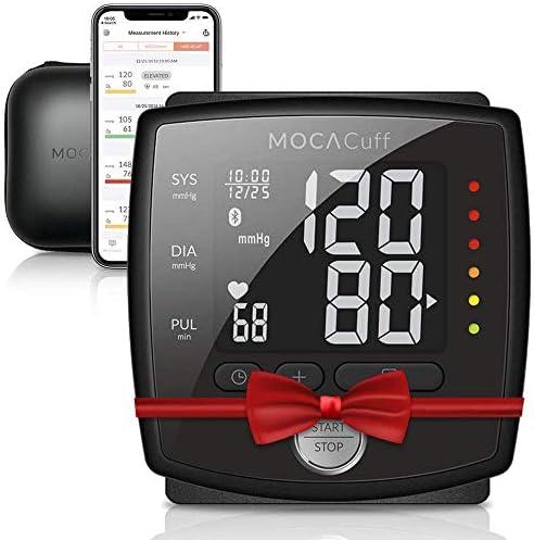 Mocacare Mocacuff Wireless Bluetooth Blutdruckmessgerät [Handgelenk] mit Harte Reise Tasche und Gratis App für iOS und Android, vollautomatische Blutdruck- und Pulsmessung, Schwarz