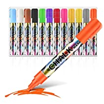 Allnice Chalk Markers Pack of 12 Color Chalk Pen Non Toxic Water Based Wet Wipe Erasable Pen for Chalkboard, Windows, Blackboard, Signs, Glass, Bistro 6 mm Reversible Round ChiselTip