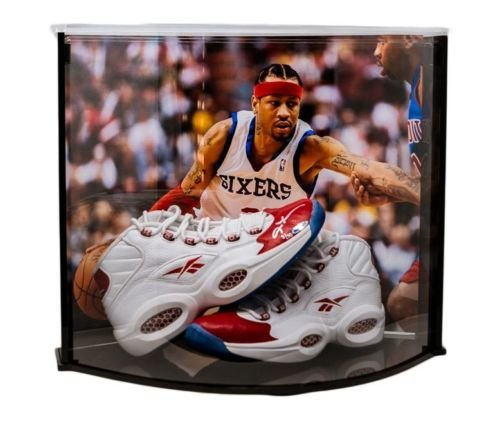(ALLEN IVERSON Autographed Red Toe Question Mid Shoes Curve Display UDA LE 30)
