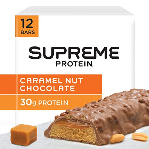 Supreme Protein Bar, Caramel Nut Chocolate, 30g Protein, 3.38 Ounce Bars Pack of 12