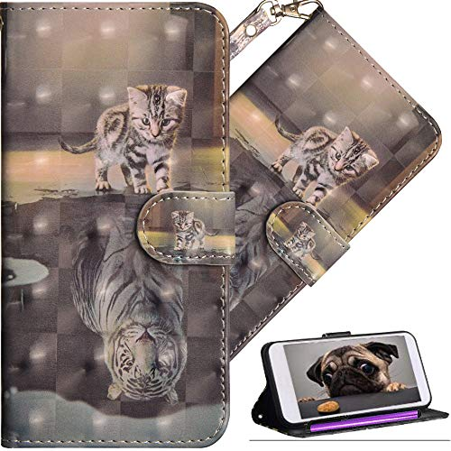 Shell Clasp (HMTECHUS LG Q Stylus Wallet case Premium PU Leather Design 3D Effect Painted Shell with Magnetic Clasp Shockproof Flip Stand Card Holder Protective Cover for LG Q Stylo 4 Cat Tiger YX)