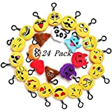 """Emoji Mini Plush Pillows for Party Decorations ,2"""" Keychain Cushion Bag Fillers BirthdayToys, Kids Party Supplies..."""