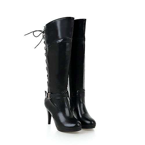 a3f9ea62b93 AnMengXinLing Fashion Knee High Boots Women Leather Buckle Platform Lace Up Zipper  High Heel Riding Boots