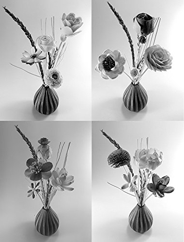 Prima Aroma set 42, mixed difference flowers diffuser 11 pieces, reed diffuser rattan wood 20 pieces, reed diffuser sesame wood 10 grams with 1 handmade ceramic vase, for aroma diffuser and decorative by Prima Place