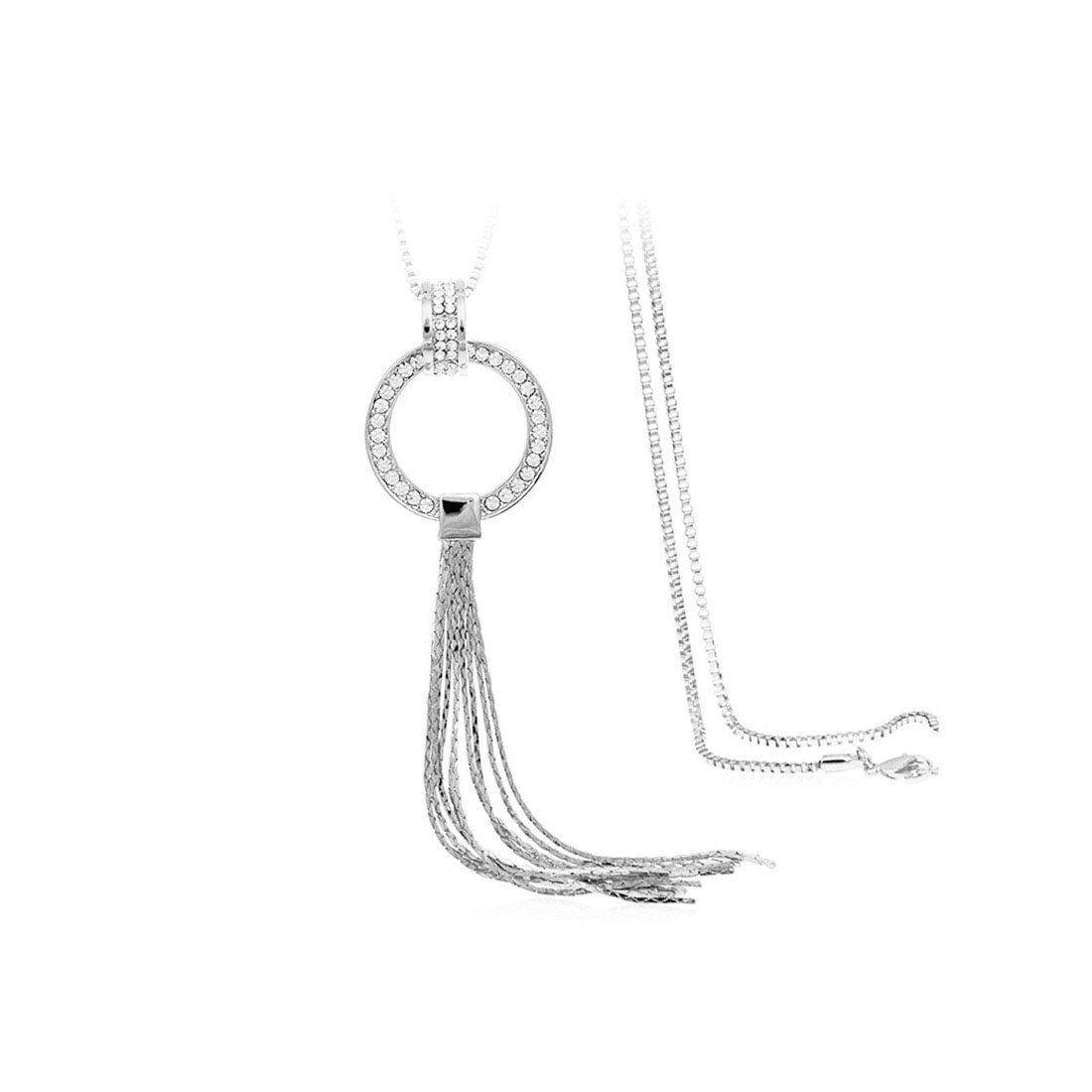 KUIYAI Long Chain Tassel Y Necklace Rhinestone O Ring Necklace for Women (Silver)