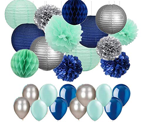 44pcs Navy Mint Green Silver, Tissue Paper Pom Poms Paper Lanterns and Latex Balloon for Boy Baby Shower, Boys Room, Nautical Wedding Bunting, First Birthday Decor Festival Party Wall Decoration]()